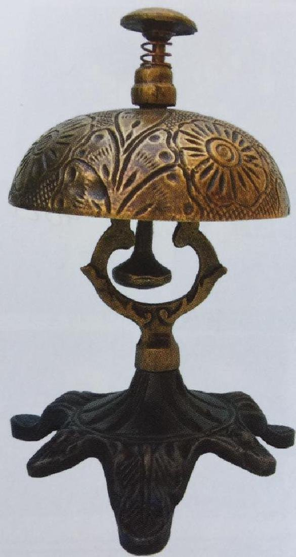 """ORNATE BRASS AND CAST IRON HOTEL BELL  - 5"""" TALL"""