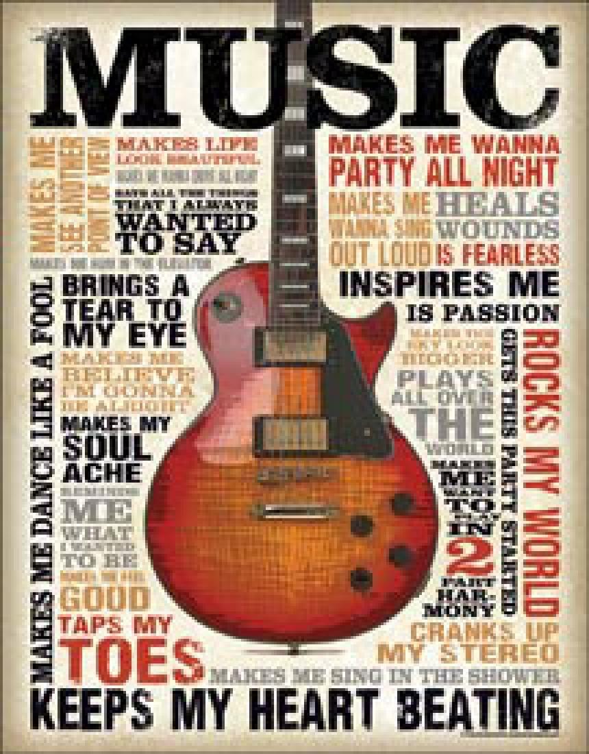 "MUSIC METAL SIGN 12.5"" X 16"""