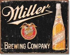 "MILLER BREWING METAL SIGN 12.5"" X 16"""