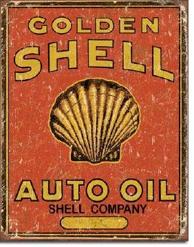 """GOLDEN SHELL AUTO OIL METAL SIGN 12.5"""" X 16"""""""