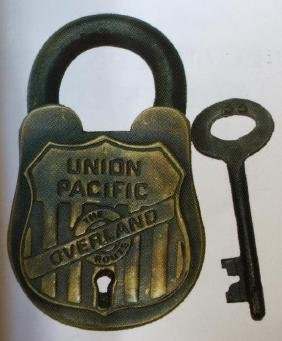 UNION PACIFIC RAILROAD SOLID BRASS PADLOCK W/ KEYS -