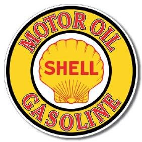 """SHELL METAL SIGN 12"""" ROUND"""