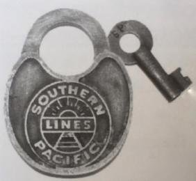 "SOUTHERN PACIFIC RAILROAD SWITCH LOCK W/ KEY - 2.5"" X"