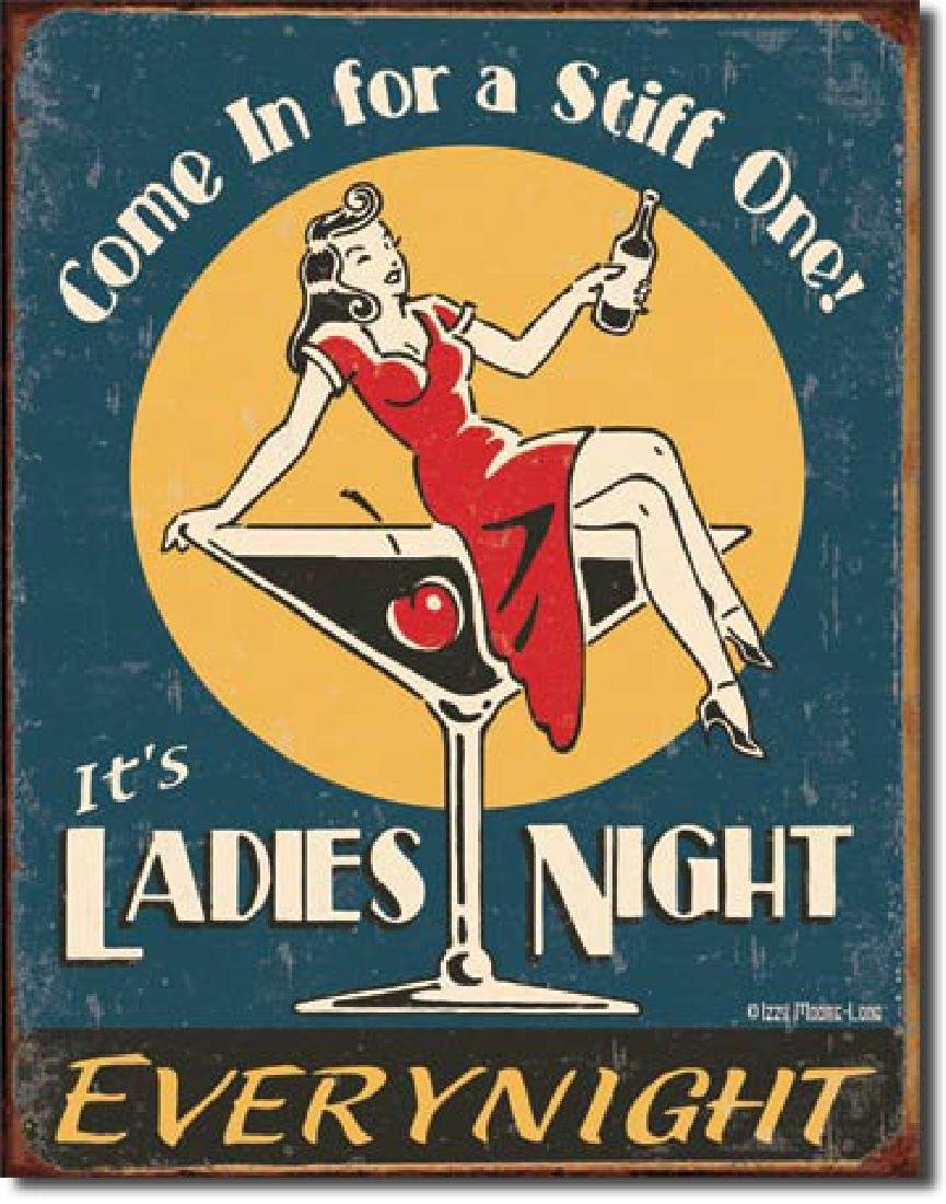 "LADIES NIGHT METAL SIGN 12.5"" X 16"""