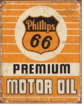 "PHILLIPS 66 MOTOR OIL METAL SIGN 12.5"" X 16"""