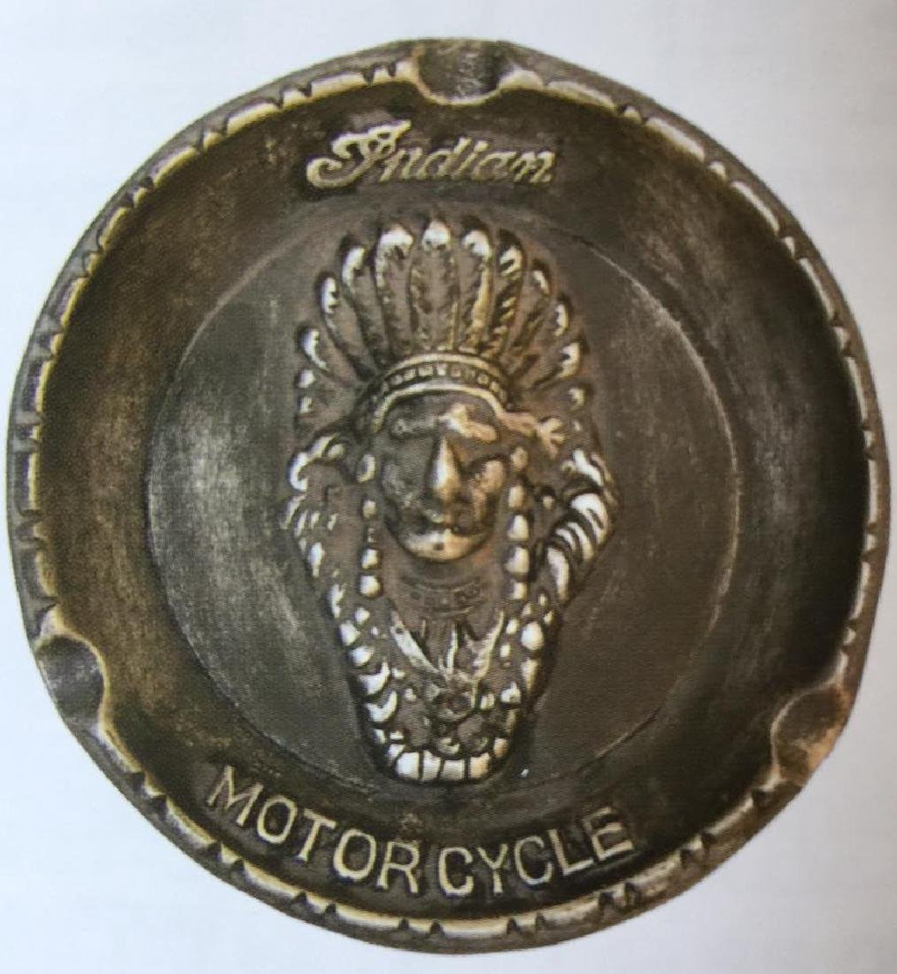 "INDIAN MOTORCYCLES ALUMINUM ASHTRAY - 5.75"" DIAM."