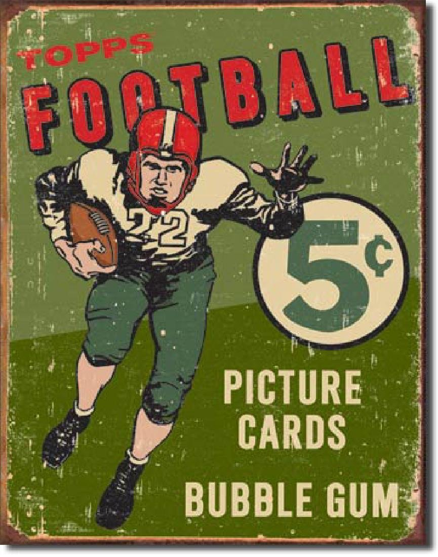 "TOPPS FOOTBALL METAL SIGN 12.5"" X 16"""