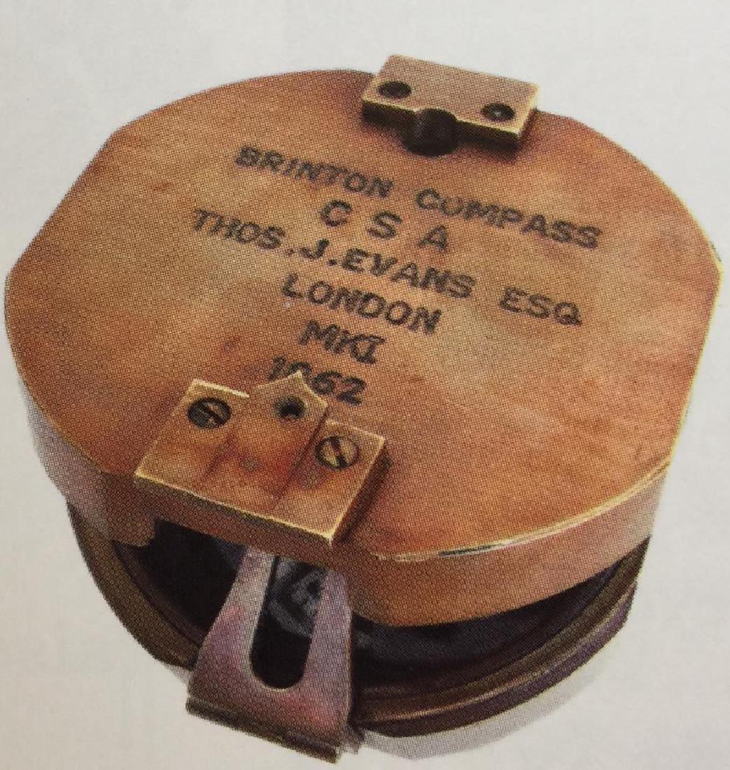 "CSA CONFEDERATE STATES SOLID BRASS COMPASS - 3"" DIAM"