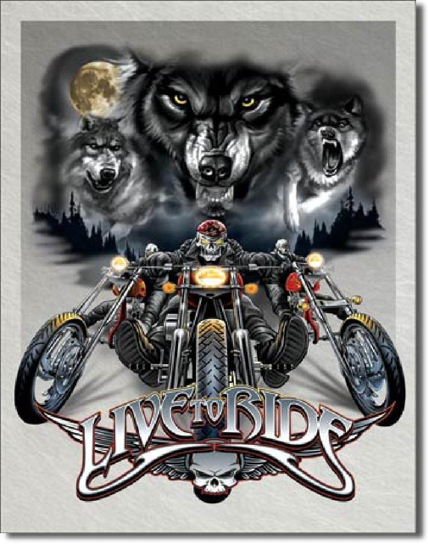 """WOLVES MOTORCYCLES METAL SIGN 12.5"""" X 16"""""""