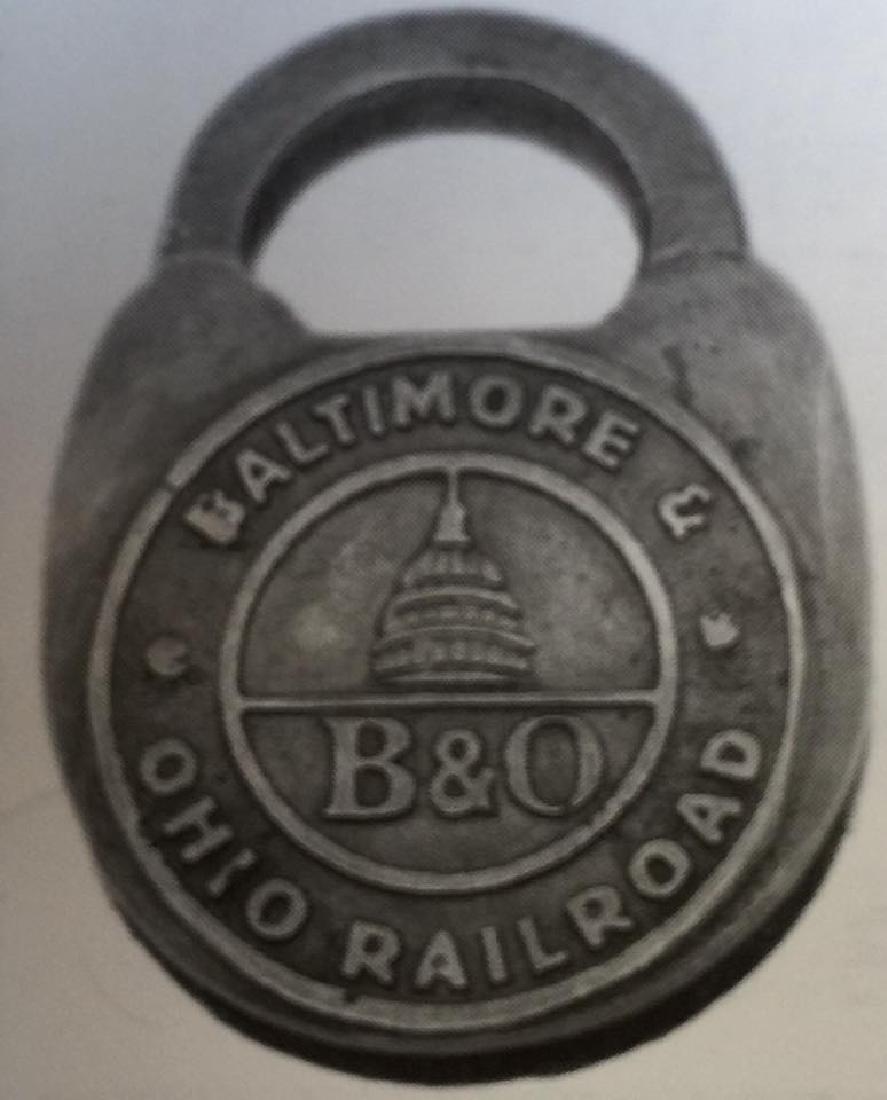 """B & O RAILROAD LOCK BALTIMORE AND OHIO W/ KEYS - 4"""" X"""