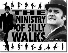 """MINISTRY OF SILLY WALKS METAL SIGN 12.5"""" X 16"""""""