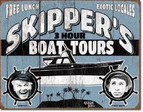 """GILLIGANS ISLAND SKIPPERS BOAT TOURS METAL SIGN 12.5"""" X"""
