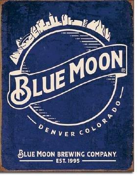 "BLUE MOON BREWING METAL SIGN 12.5"" X 16"""