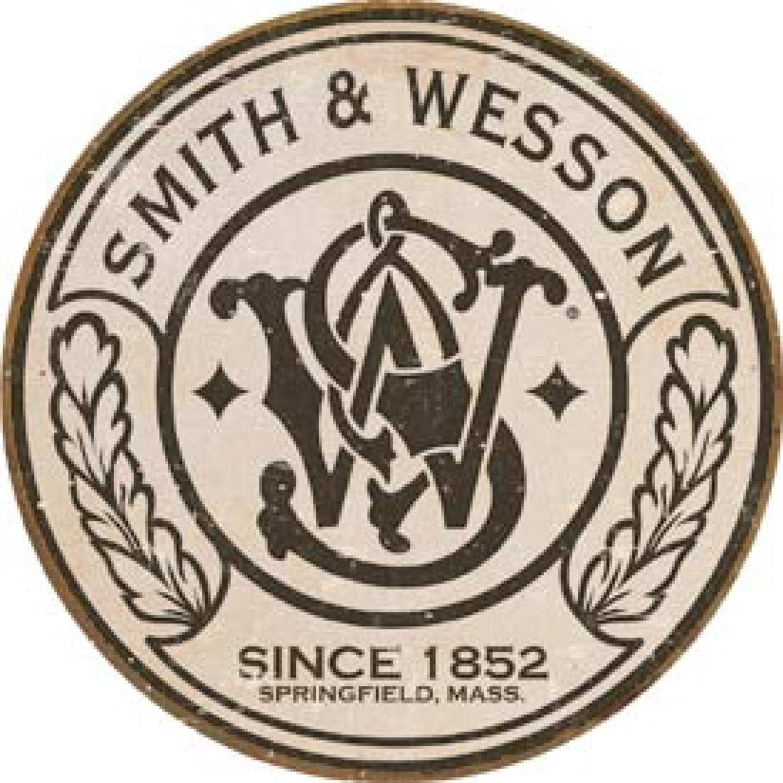 """SMITH AND WESSON METAL SIGN 12"""" ROUND"""