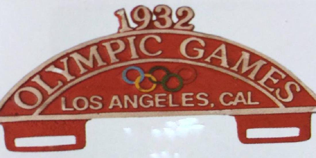 1932 LOS ANGELES OLYMPICS ALUMINUM CAR LICENSE PLATE