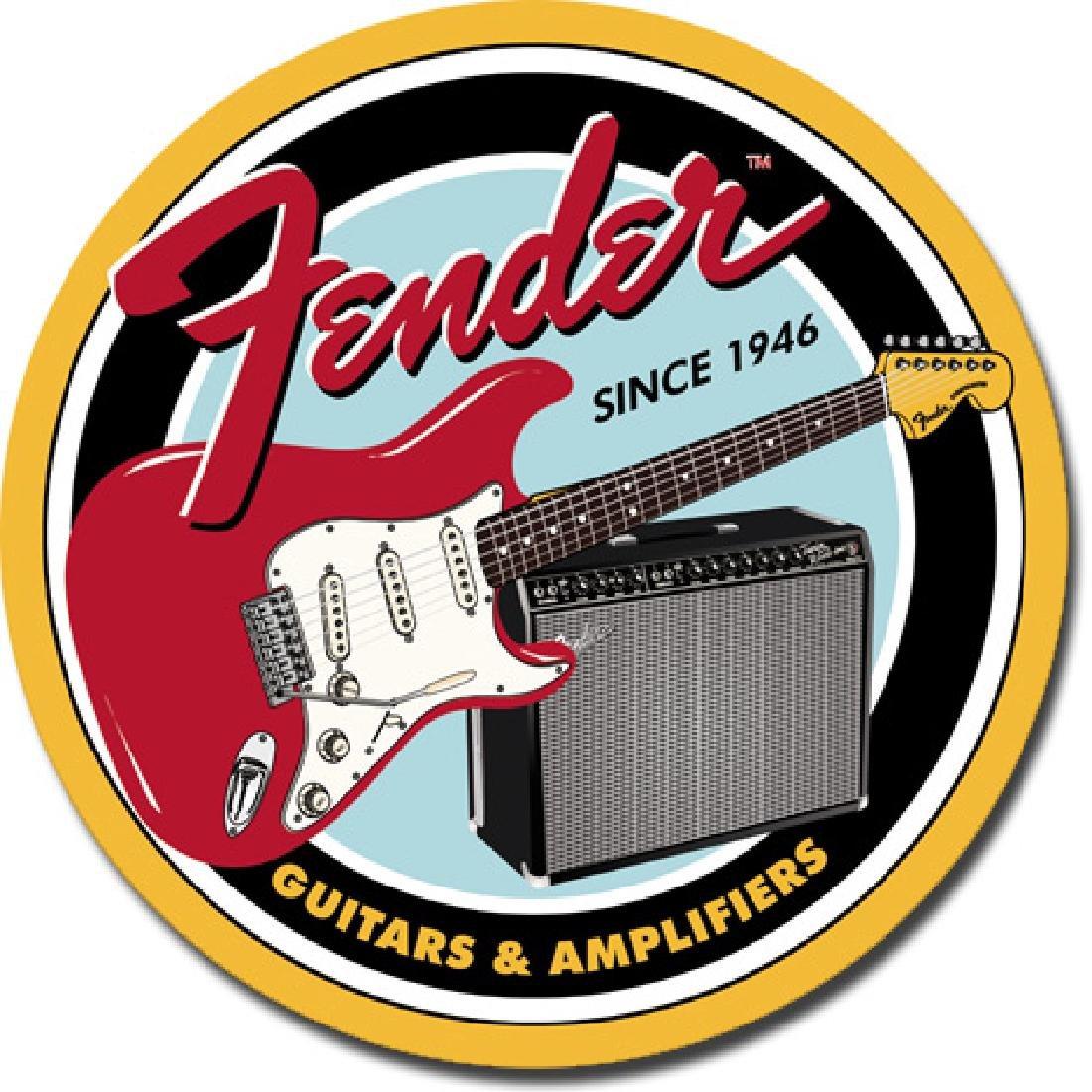 """FENDER METAL SIGN 12"""" ROUND"""