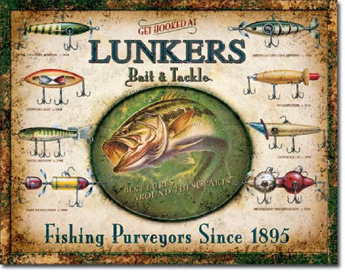 "LUNKERS METAL SIGN 12.5"" X 16"""