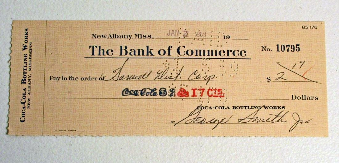 VINTAGE 1950S COCA COLA CHECK FROM NEW ALBANY MS PLANT