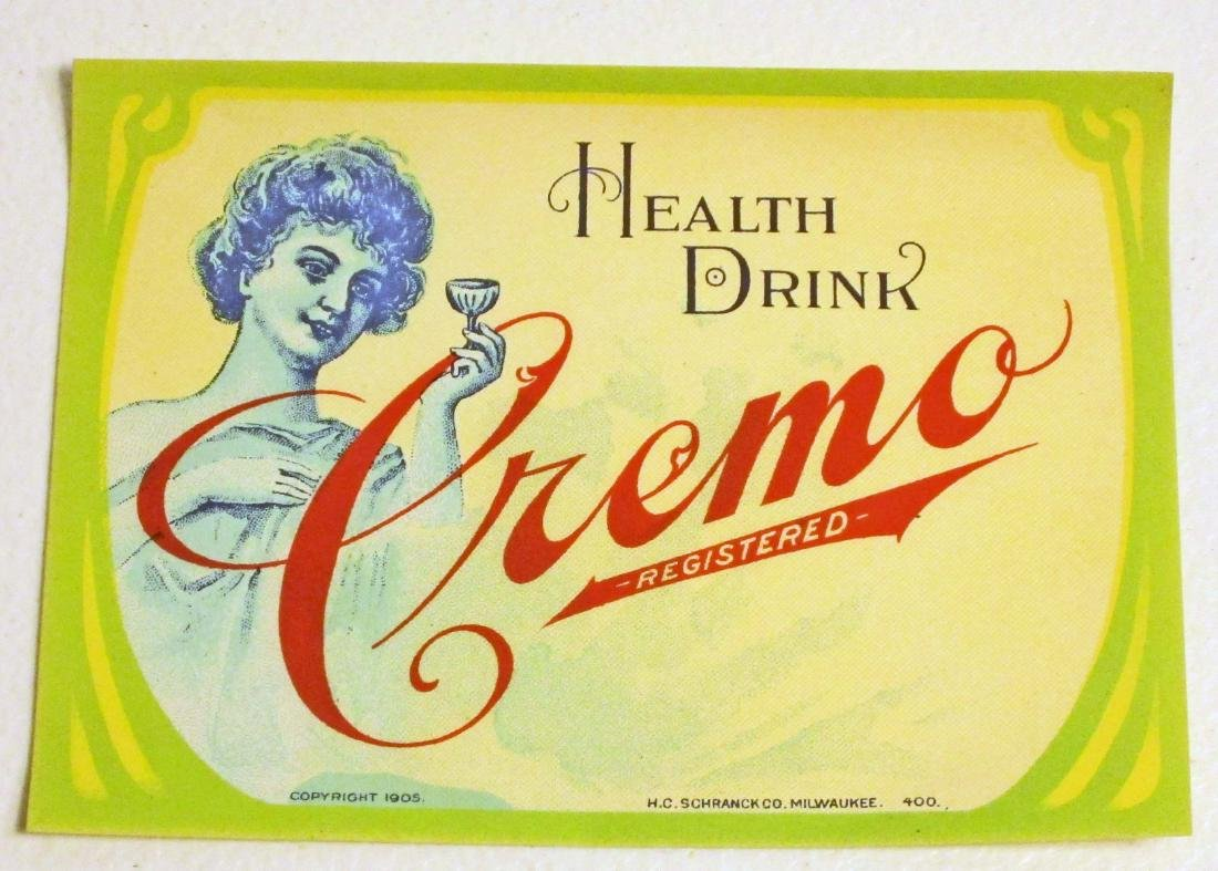 EARLY 1905 CREMO HEALTH DRINK ADVERTISING LABEL
