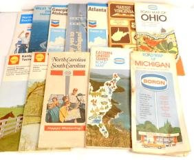 LOT OF 12 VINTAGE GAS STATION ADVERTISING ROAD MAPS
