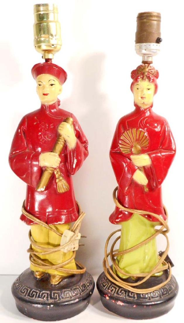 VINTAGE PAIR OF CHINESE FIGURAL LAMPS