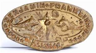 VINTAGE USS BENJAMIN FRANKLIN SSBN 650 SUBMARINE PLAQUE
