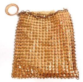 VINTAGE GOLD METAL MESH LADIES HANDBAG PURSE