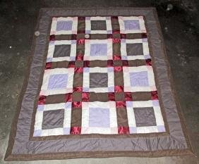 "VINTAGE HAND SEWN STITCHED QUILT - 66"" X 168"""