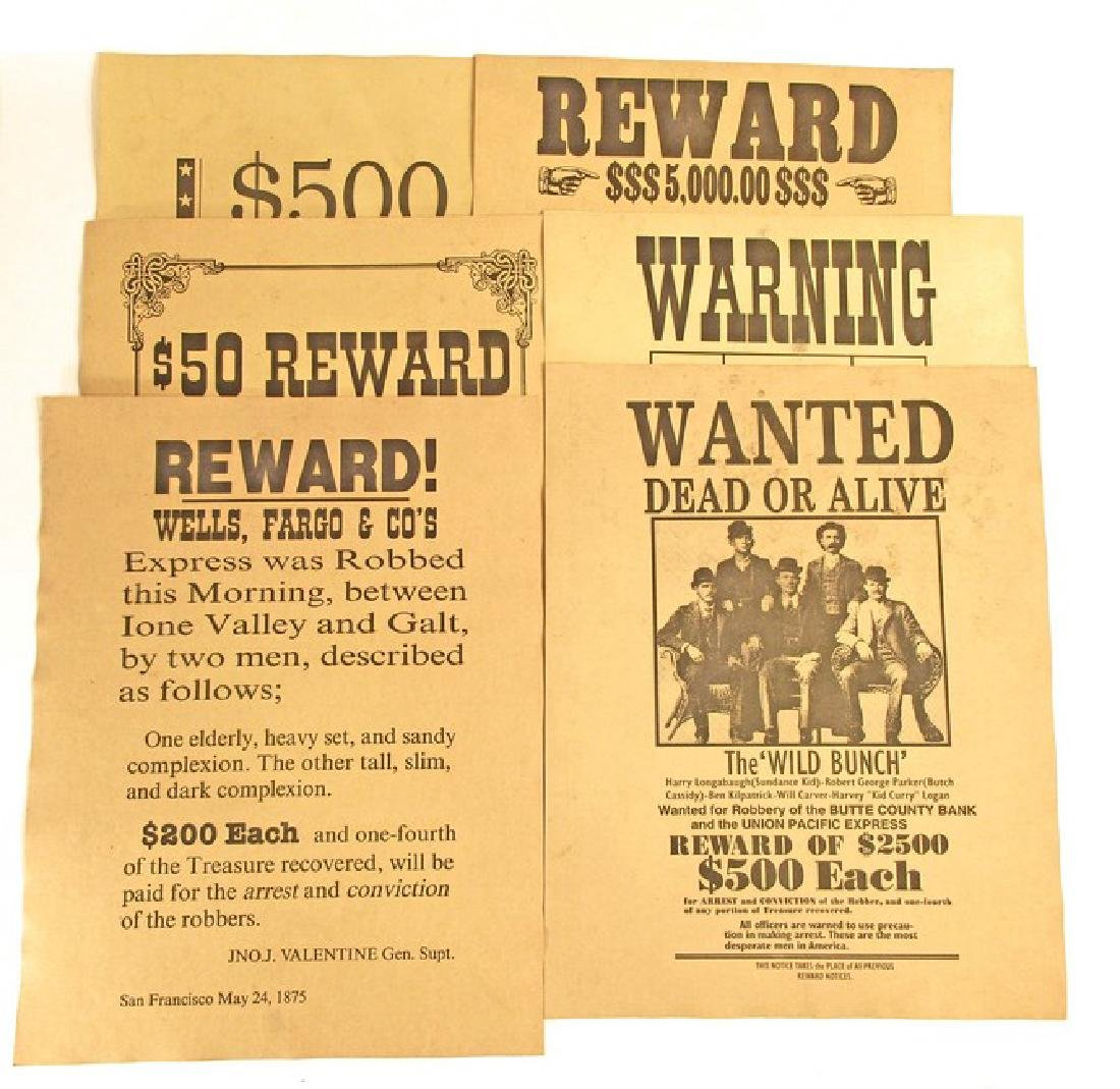 LOT OF 6 OLD WEST WANTED POSTERS - INCL. JESSE JAMES