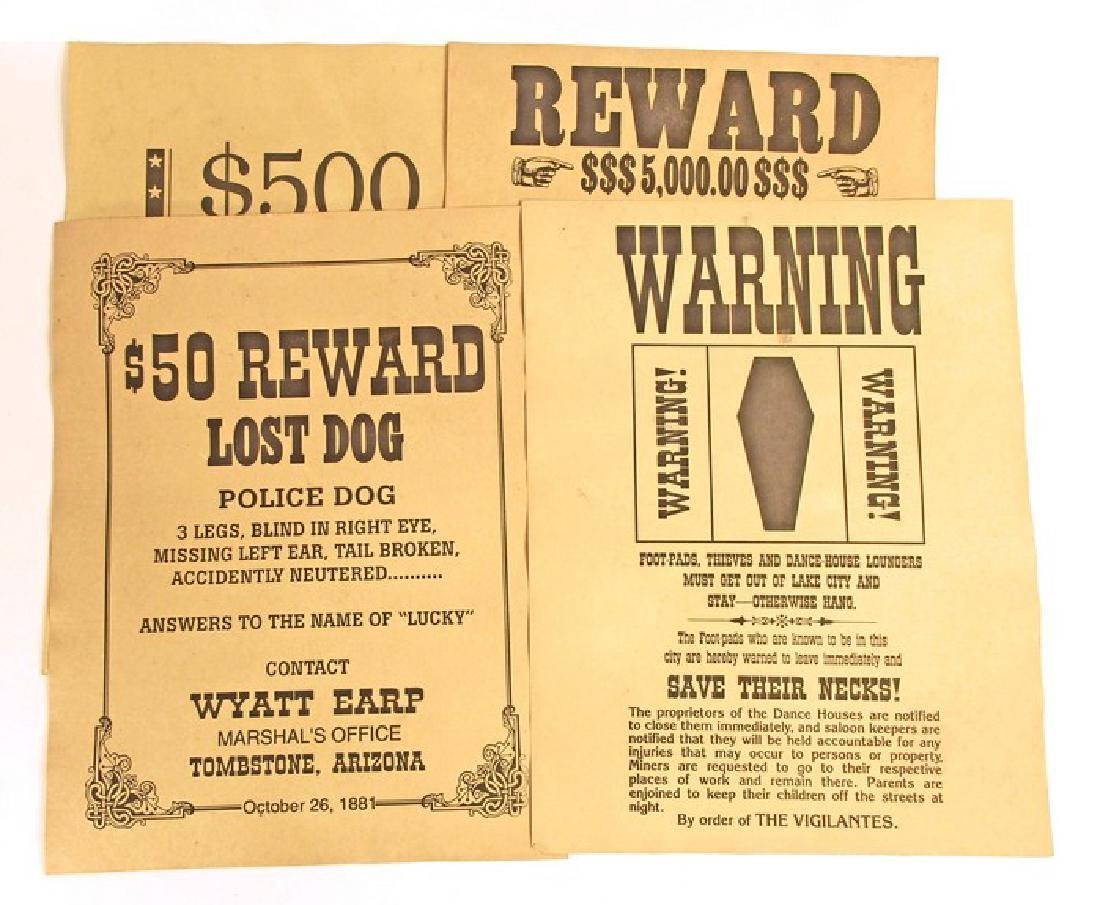 LOT OF 6 OLD WEST WANTED POSTERS - INCL. JESSE JAMES - 2
