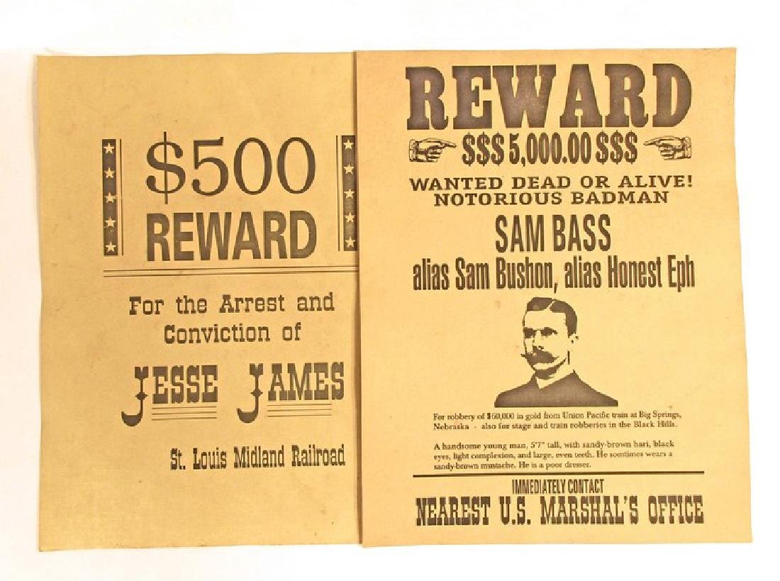 LOT OF 6 OLD WEST WANTED POSTERS - INCL. JESSE JAMES - 3