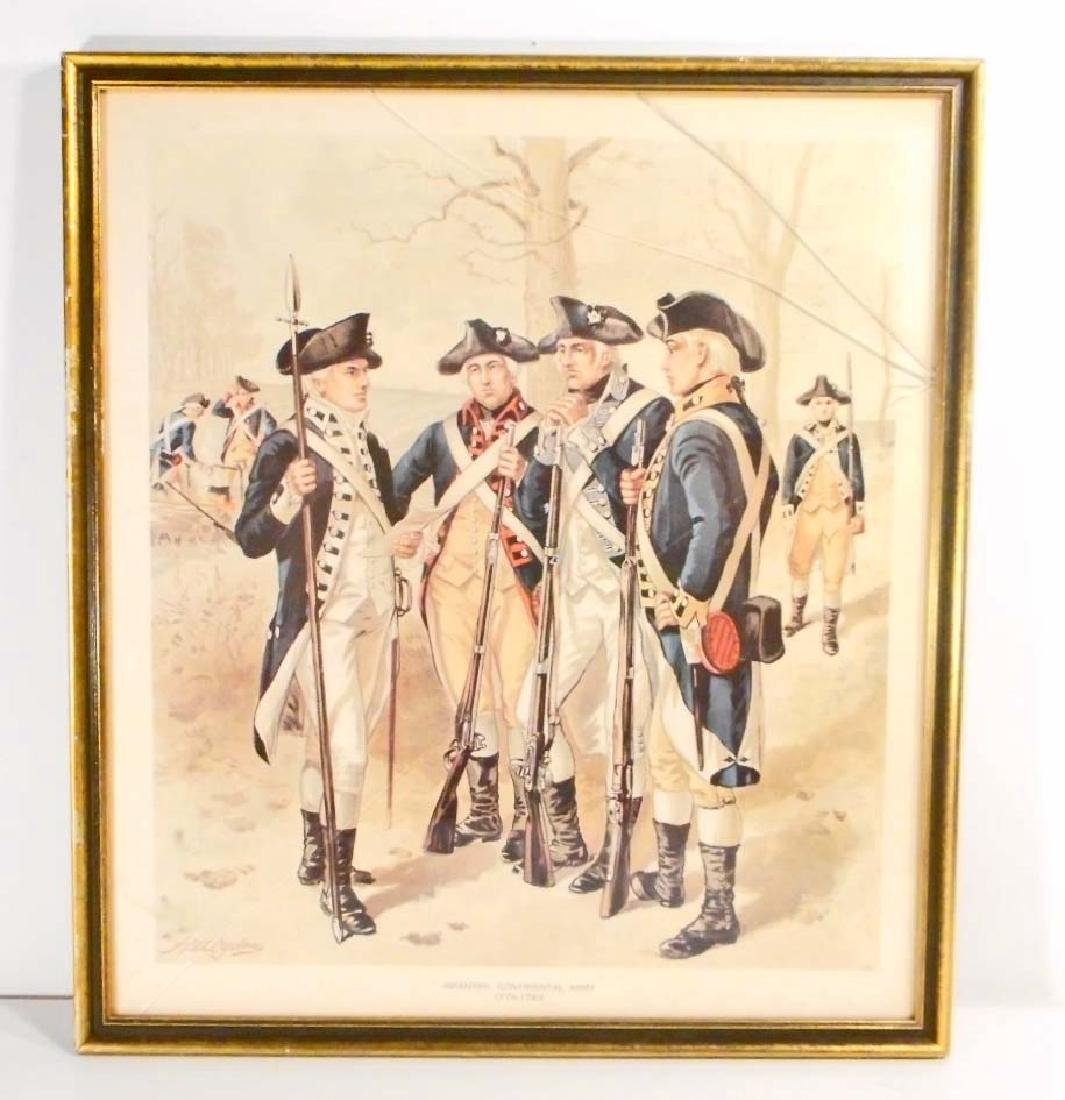 """VINTAGE CONTINENTAL ARMY FRAMED LITHOGRAPH - 13.5"""" X"""