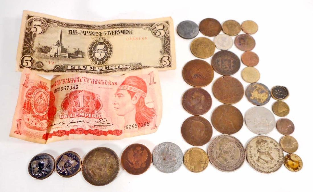 LOT OF VINTAGE FOREIGN MONEY - COINS & BILLS