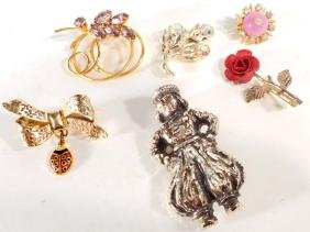 LOT OF VINTAGE BROOCHES & SCATTER PINS