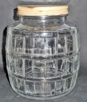 VINTAGE STORE COUNTER DISPLAY GLASS PICKLE JAR W/ METAL