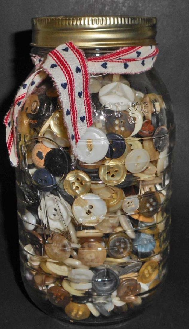 VINTAGE LONGABERGER GLASS JAR FULL OF VINTAGE BUTTONS