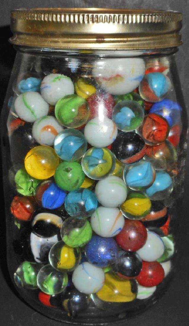 LARGE JAR FULL OF VINTAGE MARBLES