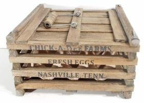 VINTAGE ADVERTISING WOODEN EGG CRATE W/ HANDLE