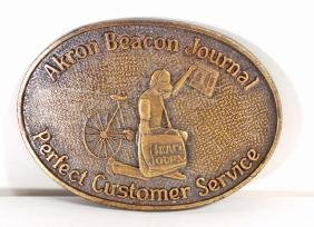 VINTAGE AKRON OHIO JOURNAL NEWPAPER AWARD BELT BUCKLE