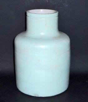 ANTIQUE STONEWARE WATER COOLER - DESIGNED W/ HOLE IN