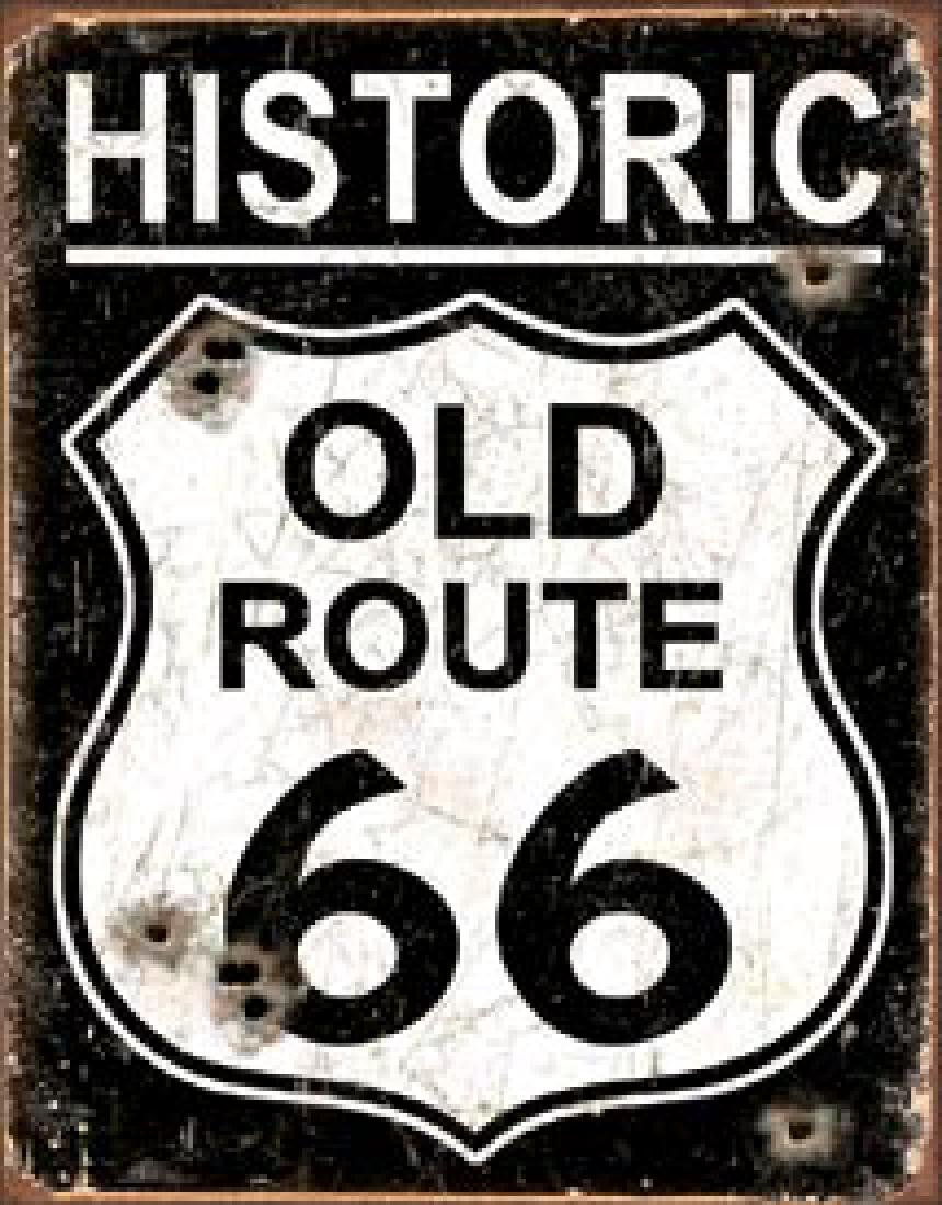 "ROUTE 66 METAL SIGN 12.5"" X 16"""