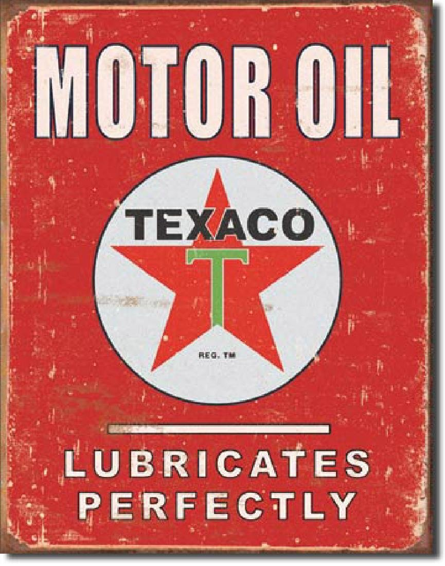 "TEXACO MOTOR OIL METAL SIGN 12.5"" X 16"""