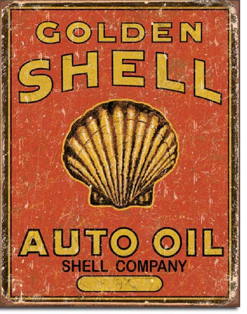 "GOLDEN SHELL AUTO OIL METAL SIGN 12.5"" X 16"""