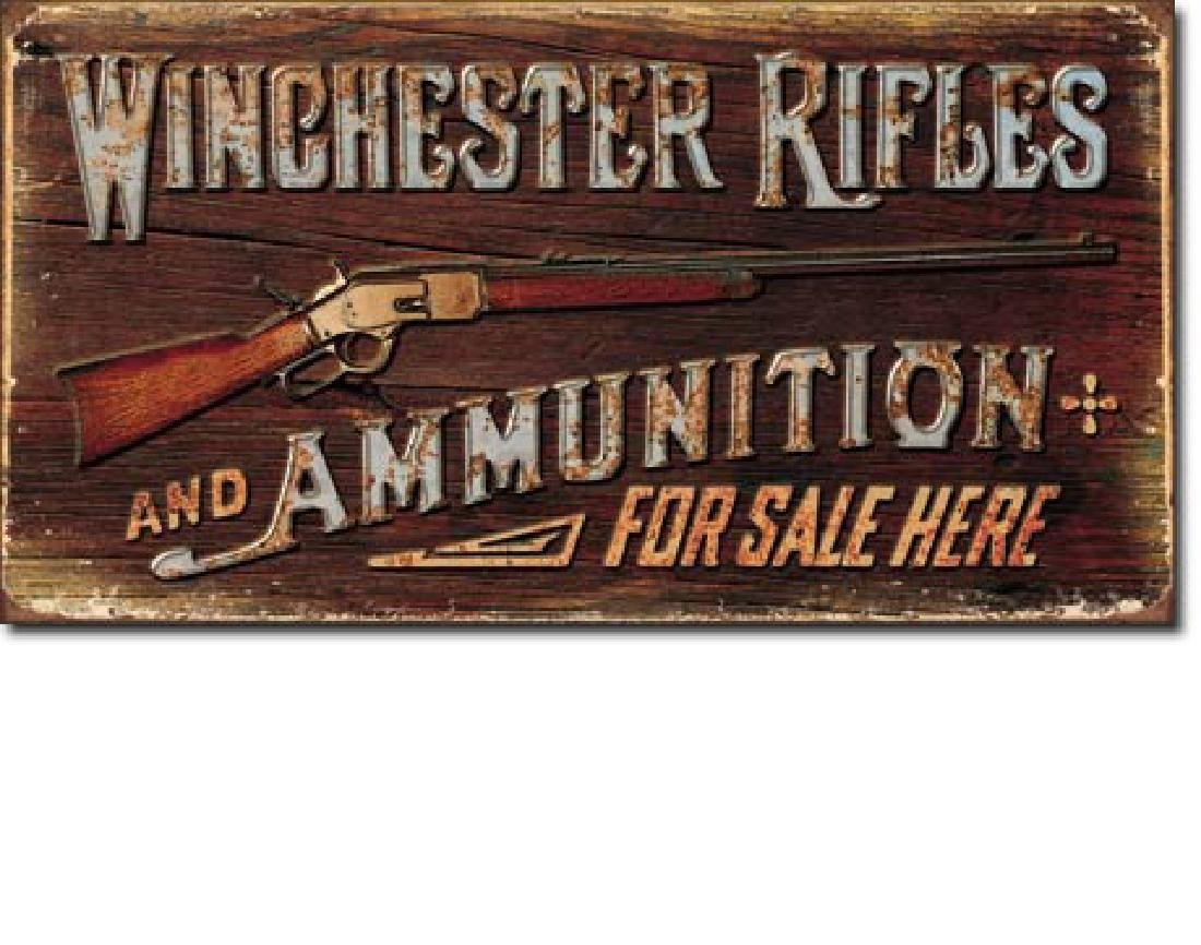 "WINCHESTER METAL SIGN 8.5"" X 16"""