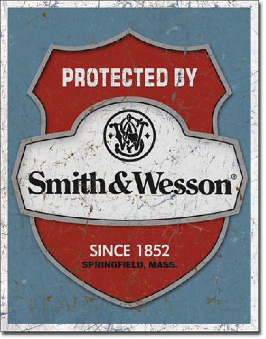 "SMITH AND WESSON METAL SIGN 12.5"" X 16"""
