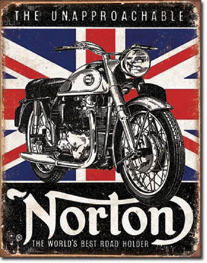 "NORTON MOTORCYCLES METAL SIGN 12.5"" X 16"""
