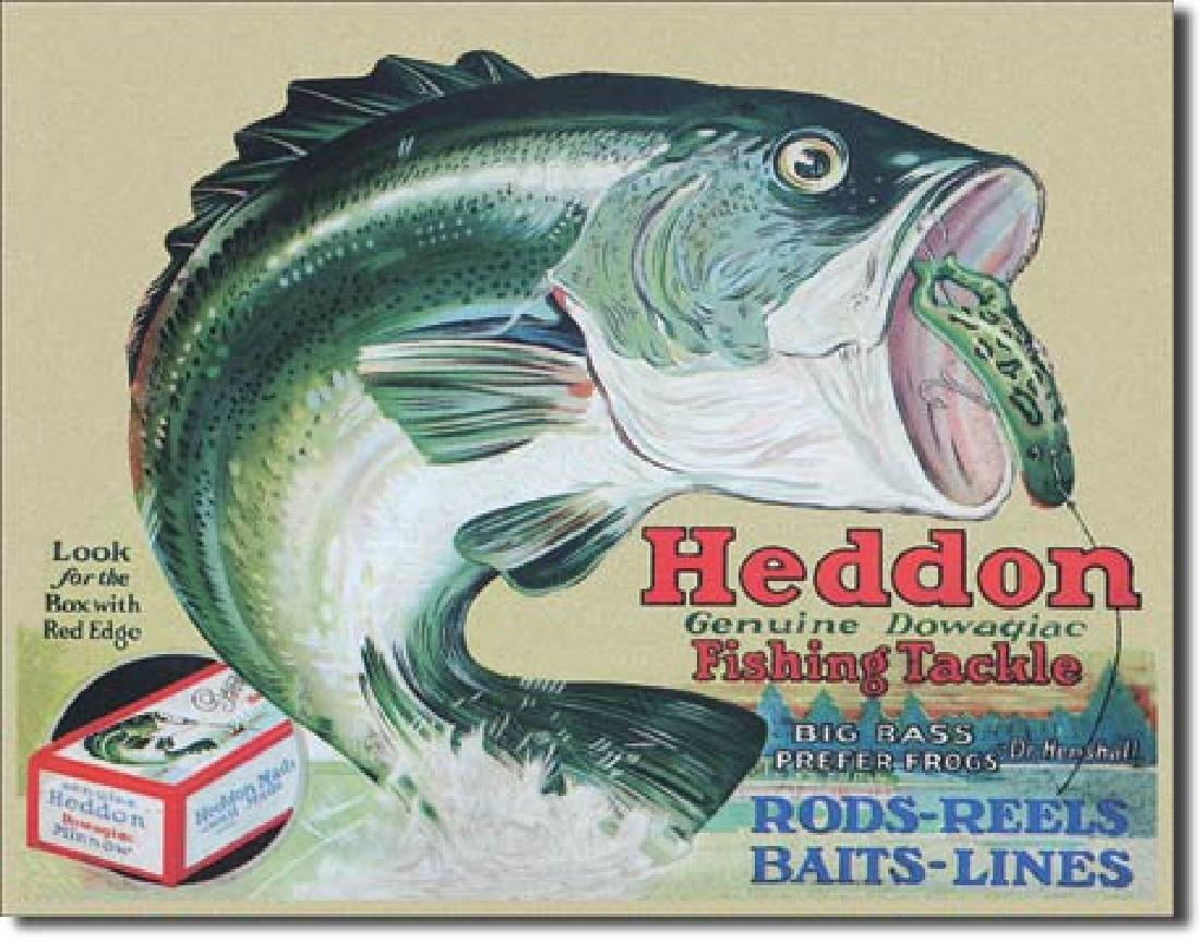 "HEDDON FISHING TACKLE METAL SIGN 12.5"" X 16"""