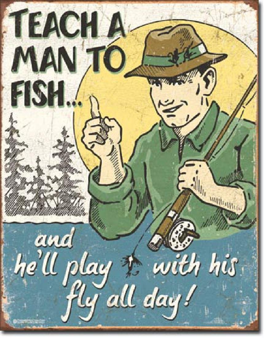 "FISHING METAL SIGN 12.5"" X 16"""