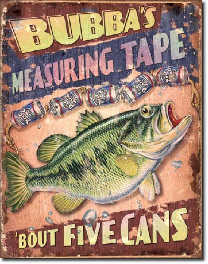 """BUBBAS MEASURING TAPE FUNNY METAL SIGN 12.5"""" X 16"""""""