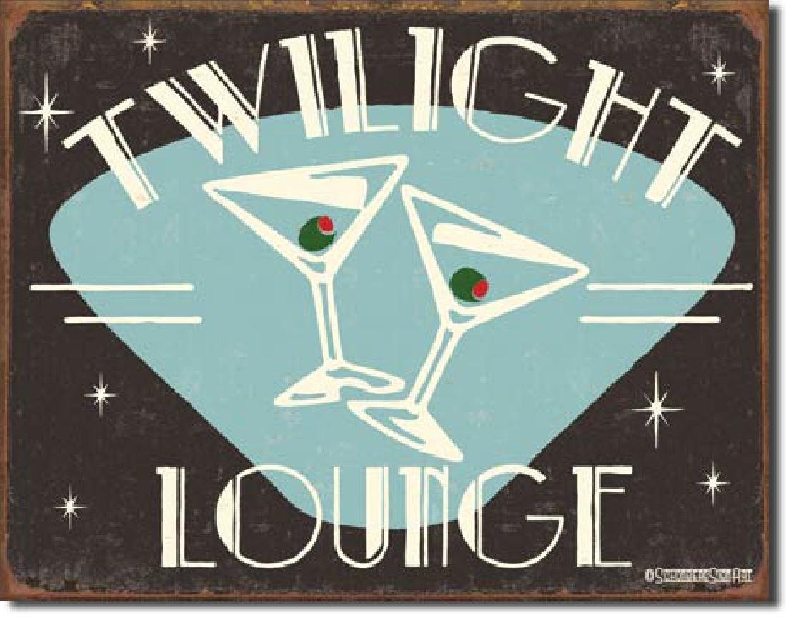 "TWILIGHT LOUNGE METAL SIGN 12.5"" X 16"""